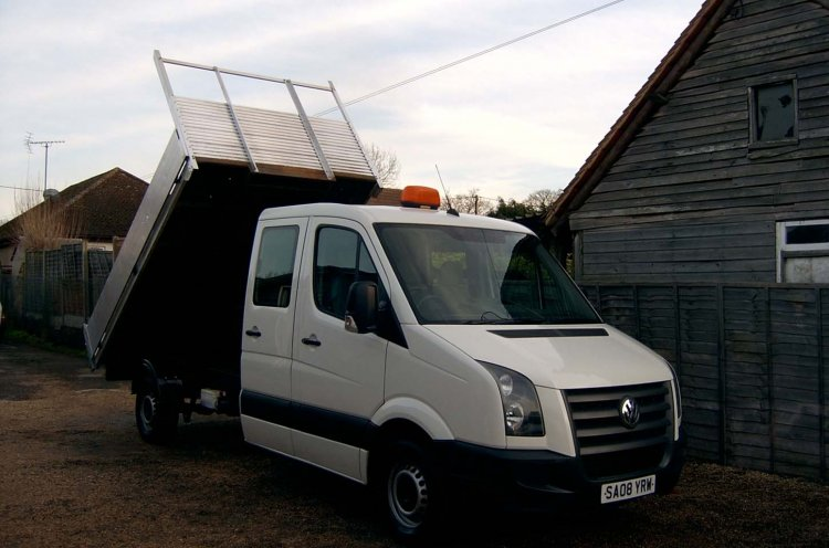 VW Crafter 35 2.5 TDI 109 LWB Double Cab Tipper - Click Image to Close